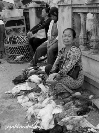 woman sell her chickens