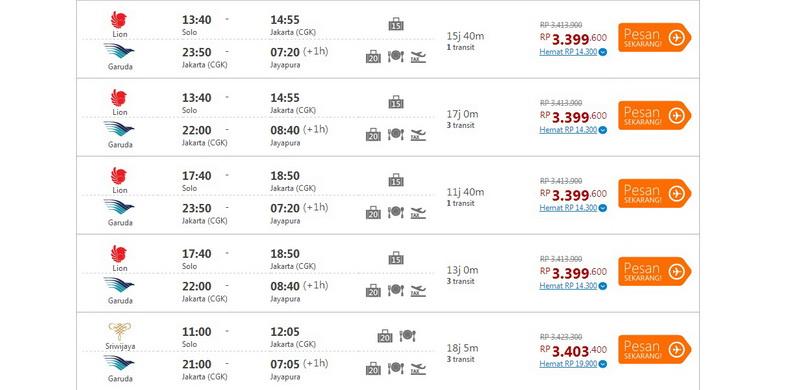 Step : memilih jadwal penerbangan