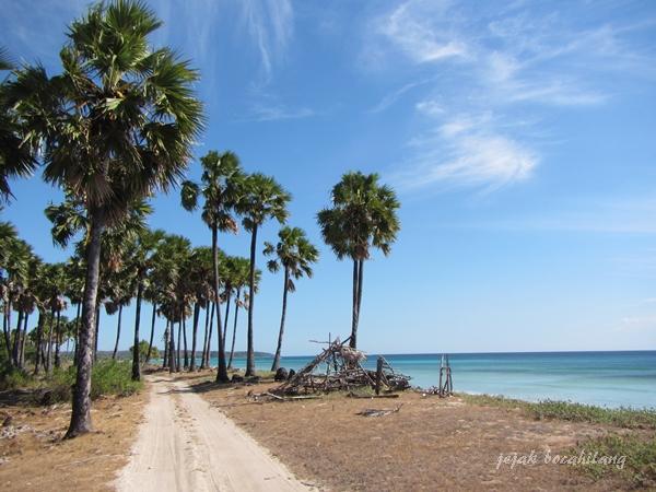 jalan berpasir menuju satu pantai ke pantai lain